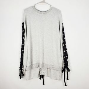 TOV | high low lace up pullover sweatshirt